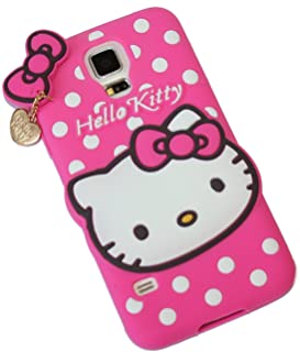 Galaxy S5 Case - Pink Polka Dots Hello Kitty w/ Charm Soft Rubber Silicone Protection Skin Cover [for SAMSUNG GALAXY S5]