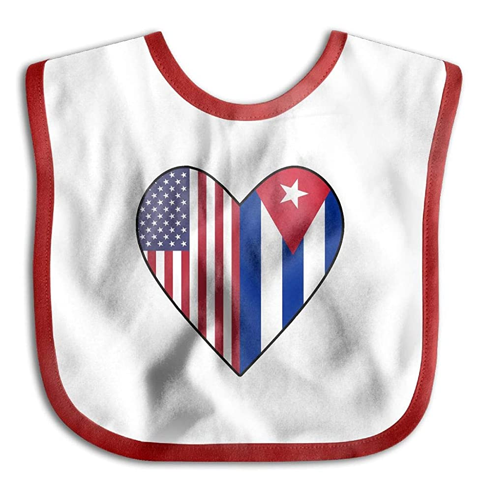 Half Cuba Flag Half USA Flag Love Heart Newborn Baby Boys Girls Cotton Saliva Towel Baby Bibs Waterproof Saliva Towel