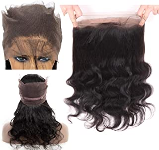 FDX 9a Brazilian Human Hair 360 Lace Frontal Closure Body Wave Unprocessed Brazilian Virgin Human Hair Body Wave Lace Frontal Closure PrePlucked with Baby Hair&Hairline Free Part Natural Color 10inch.