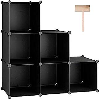 "Best C&AHOME Cube Storage Organizer, 6-Cube Shelves Units, Closet Cabinet, DIY Plastic Modular Book Shelf, Ideal for Bedroom, Living Room, Office, 36.6"" L x 12.4"" W x 36.6"" H Black Review"