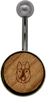 German Shepherd Surgical Stainless Steel Belly Button Rings - Size 14 Gauge Wooden Navel Ring - Rustic Wood Navel Ring with Laser Engraved Design