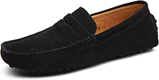 Men Penny Loafers Classic Suede Leather Comfortable Driving Shoes Soft Slip-on Flats Moccasin Slippers Boat Shoes Size 5-13