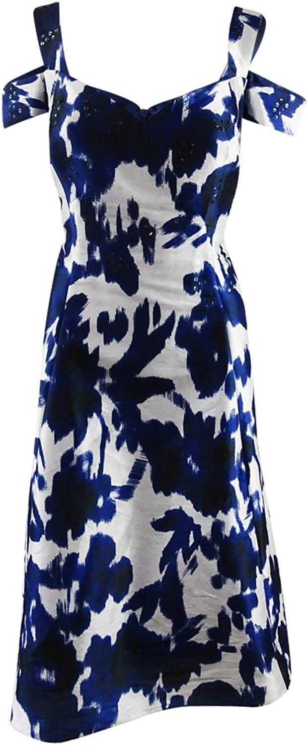 Adrianna Papell Womens Irridescent Faille Fit and Flare Dress Dress
