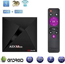 TV Box Android 9.0 A5X Max TV Box RK3328Quad-core Cortex-A53 64 bits 4GB RAM 32GB ROM 3D 4K 2.4GHz/5GHz Dual Band WiFi Bluetooth 4.2 Ethernet Player