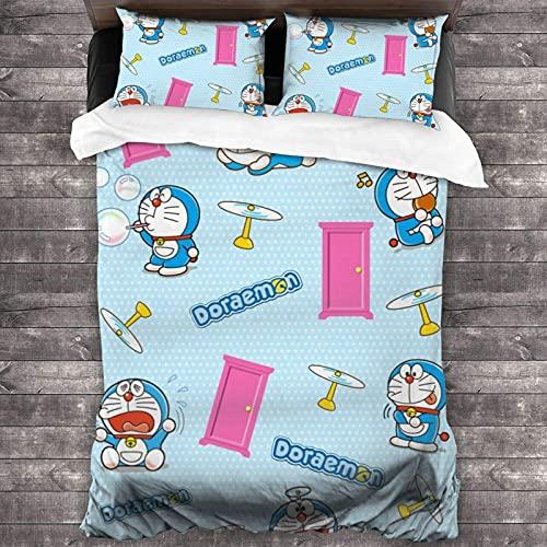 Wall Aion Funda nórdica Doraemon de Dibujos Animados sin Costuras de Anime con Cierre de...