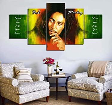 PEACOCK JEWELS [Large Premium Quality Canvas Printed Wall Art Poster 5 Pieces / 5 Panels Wall Decor Bob Marley Painting, Home Decor Pictures - Stretched
