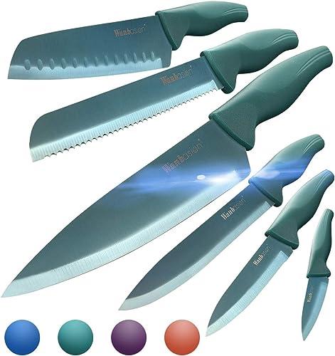 Wanbasion Green Professional Kitchen Knife Chef Set, Kitchen Knife Set Stainless Steel, Kitchen Knife Set Dishwasher Safe with Sheathes