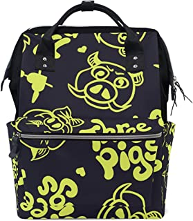 Backpack for Men Women, Gold Three Pigs Characters Casual Water-Resistant College School Backpack