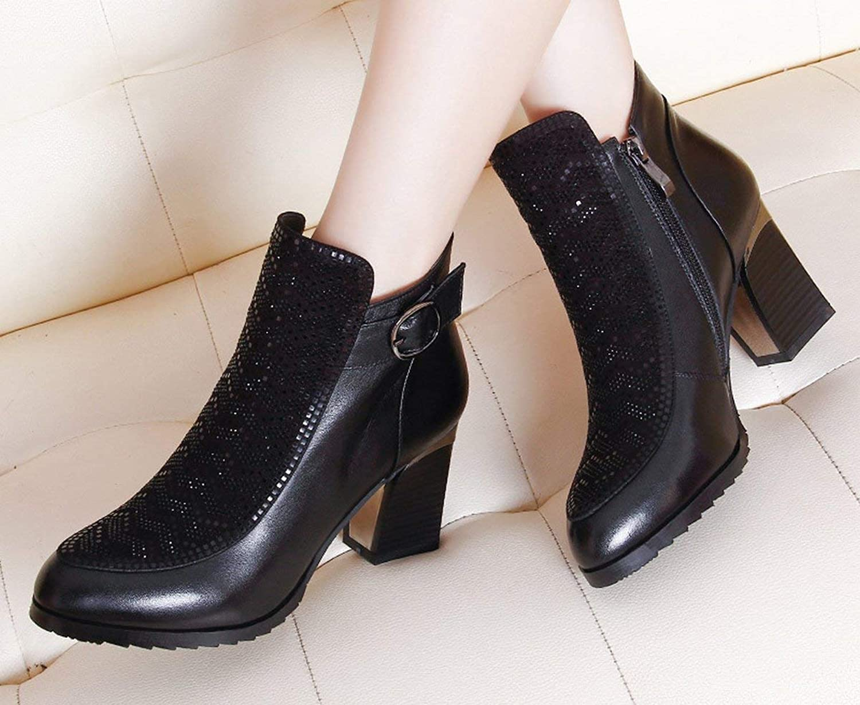 HhGold Arbeitsstiefel Stiefel einzelnen Mode Martin Stiefel Einsatzstiefel Diamanten mit Stiefel kurz (Farbe   Schwarz, Gre   48)