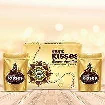 HERSHEY'S Kisses Chocolate Rakhi Gift Pack- Milk Variant   with Special Kisses-Shaped Rakhi   1 Gift Hamper (2*100gm Pack)+ Rakhi   Celebration Gift Pack