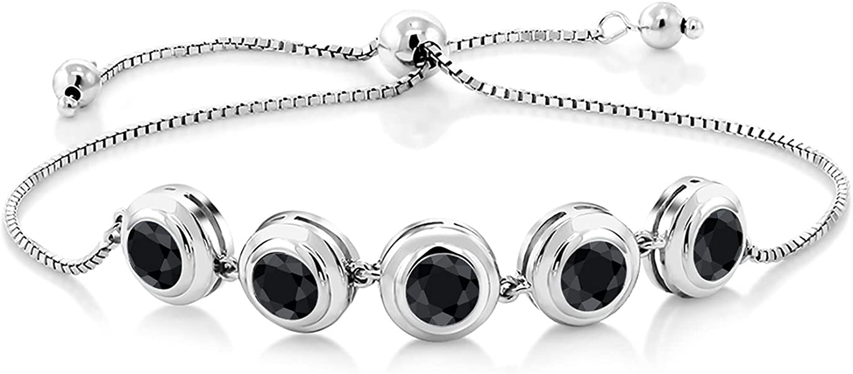 Gem Stone King 925 Sterling Silver Black Sapphire Women Adjustab