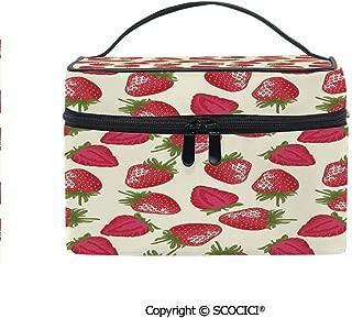 Printed Portable Travel Makeup Cosmetic Bag Strawberries Vivid Growth Plant Vitamin Organic Diet Refreshing Image Decorative Durable storage bag for Women Girls