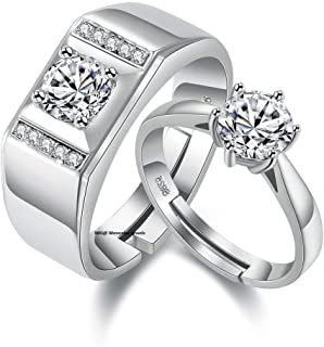 97e9556f67 Moneekar Jewels Silver Plated Metal Cubic Zirconia Adjustable Couple Rings  for Men and Women