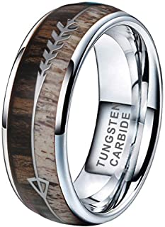 iTungsten 6mm 8mm Silver/Black/Yellow Gold/Rose Gold Tungsten Rings for Men Women Wedding Bands Koa Wood Deer Antler Arrow Inlay Domed Polished Shiny Comfort Fit