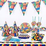 6 Invitados Kit CumpleañosBloques de construcción Suministros para fiestas Bloques de construcción Lego Banderín Sombrero de papel Mantel Suministros de cumpleaños para niños Cumpleaños para niños