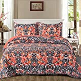 NEWLAKE Quilt Bedspread Sets-Colorful Graffiti Freestyle Reversible Coverlet Set,Queen Size