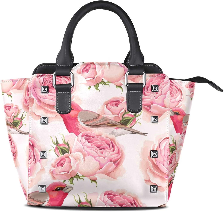 My Little Nest Women's Top Handle Satchel Handbag Pink pinks Birds Ladies PU Leather Shoulder Bag Crossbody Bag