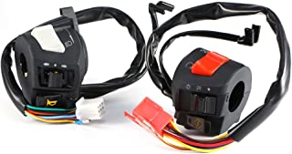 Motorcycle Left and Right Handlebar Control Switch, 2 Packs DC 12V ABS Waterproof Universal 7/8'' Motorbike Handlebar Horn Turn Signal Light Controller for Honda, Suzuki, Yamaha, Kawasaki etc