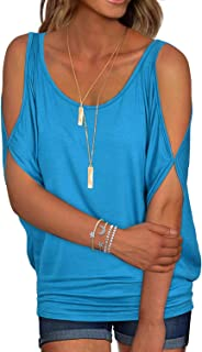 Black Summer T Shirt Women Short Sleeve Cold Shoulder Loose Fit Pullover Casual Top