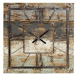 Aspire Weston Square Large Clock 27.5 Inch Farmhouse Wall Décor, Multicolor