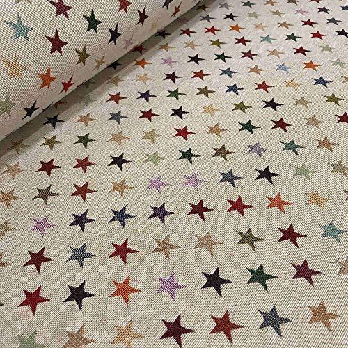 Kt KILOtela Tela por Metros de tapicería - Jacquard Gobelino - Ancho 280 cm - Largo a elección de 50 en 50 cm   Estrellas - Beige, Multicolor