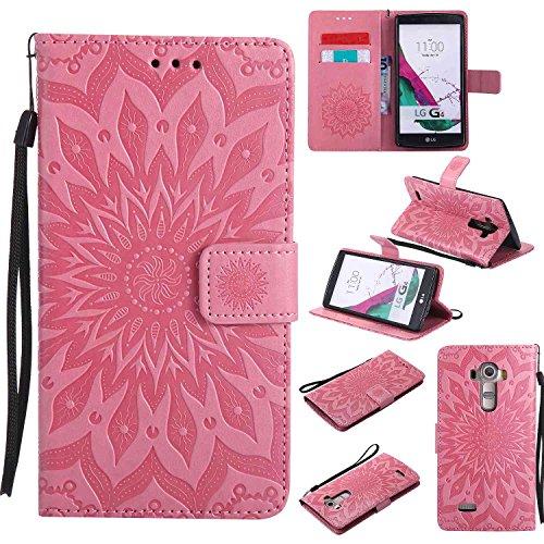 pinlu® PU Leder Tasche Etui Schutzhülle für LG G4 (5,5 Zoll) Lederhülle Schale Flip Cover Tasche mit Standfunktion Sonnenblume Muster Hülle (Rosa)