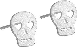 925 Sterling Silver Puzzle Piece Skull Heart Eyes Earrings Stud for Women