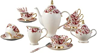 Lcxliga Coffee Sets Ceramic English Afternoon Tea Set Living Room Red Tea Cup Set Home Water Cup Set Wedding Gift Set Cups, (Size : 21 Pieces)