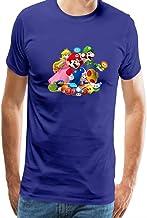 QUATEE Camiseta para Hombre Super Mario Bros Play Impresión T Shirt Blusas Camisas Tops