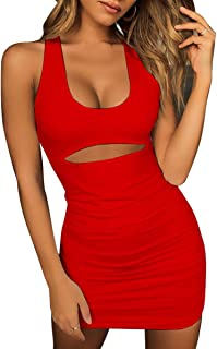 Women's Sexy Jumpsuit Hollow Out Spaghetti Backless Sleeveless Cutout Club Ruched Bodycon Mini Dress 8121
