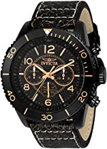 Invicta Men's Aviator Stainless Steel Quartz Watch with Leather Calfskin Strap, Brown, 29 (Model: 24554)