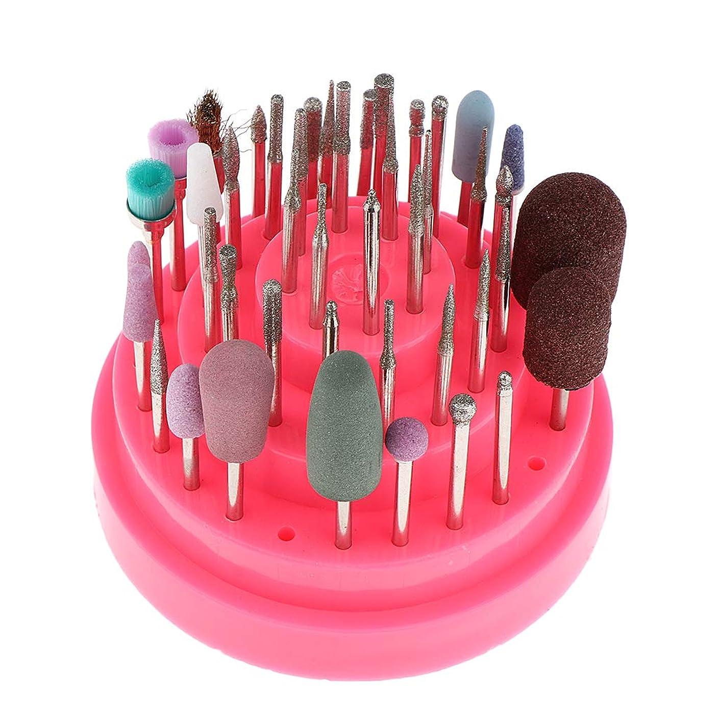 はっきりと消去露骨なF Fityle ネイル研削ヘッド ネイルドリルビットセット ネイルアートツール ネイル道具 全2色 - ピンク