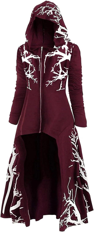 Women Fashion Halloween Cardigan Loose Large Size Coat Retro Dress Elasticity Hooded Outerwear