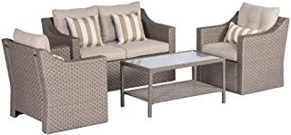 SOLAURA Outdoor Patio Furniture Set 4-Piece Conversation Set Gray Wicker Furniture Sofa Set with Neutral Beige Olefin Fiber Cushions & Sophisticated Glass Coffee Table