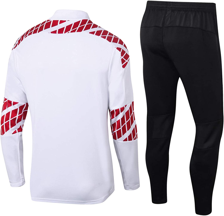 HPYR Traje De Entrenamiento De F/útbol Mǐlǎn Men Jerseys De F/útbol para Adultos Conjuntos De Manga Larga Cuarto-Cremallera Chaqueta Deportiva A-S