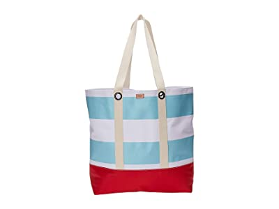 Frances Valentine Double Handle Weekend Tote (Light Blue/White/Red) Handbags