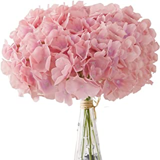 Aviviho Hydrangea Silk Flowers Heads Pack of 10 Full Hydrangea Flowers Artificial with Stems for Wedding Home Party Shop Baby Shower Decor (Dusty Rose Pink)
