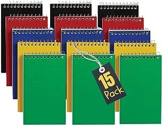 1InTheOffice Libros de notas en espiral con espiral, blocs de notas, 7,6 x 12,7 cm, rayas universitarias, bloc de notas pe...