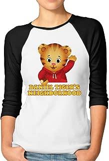 LQYG Women's Three Quarter Sleeve T-Shirt - Daniel Tiger's Neighborhood 2 Black