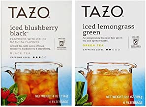 Tazo Iced Tea Pitcher Bag Flavored Teas 2 Flavor Variety Bundle, (1) each: Blushberry Black and Lemongrass Green (6 Count)