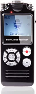 Haelpu Digital Voice Recorder 16GB, Voice Activated, Variable Speed Playback, Zinc Alloy Shel, Built in Ultra - Sensitive Microphones and Mp3 Player - Black