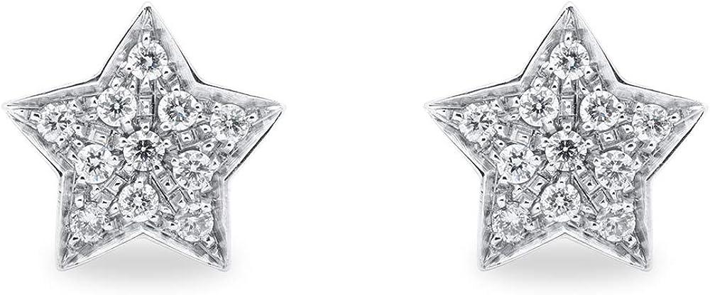 B.&c. gioielli orecchini donna a forma di stella oro bianco 18kt (750) e diamanti gvs orecchini05