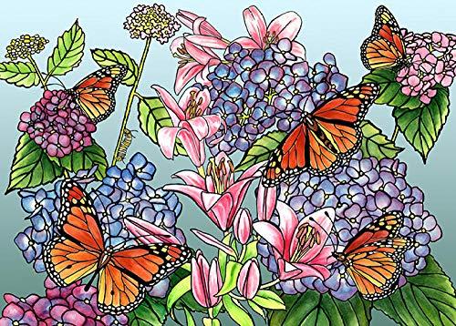 Kit di Pittura Digitale Pittura a Olio Fai-da-Te Bambini e Adulti e Principianti Giocattoli e Artigianato Colorati con Numeri Fiore 16 * 20 Pollici JuZi