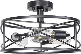Homenovo Lighting Matte Black Semi-Flush Mount Ceiling Light, 3-Light