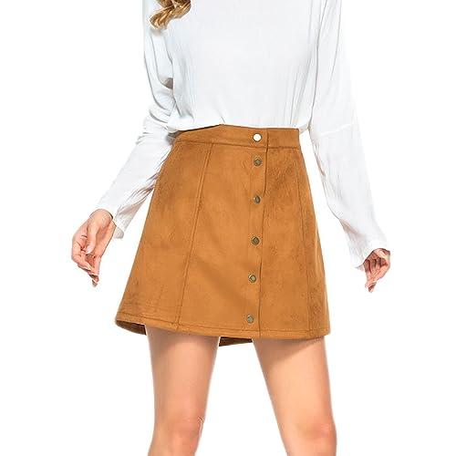 cd8a43296 PERSUN Women's Faux Suedette Button Closure Plain A-Line Mini Skirt