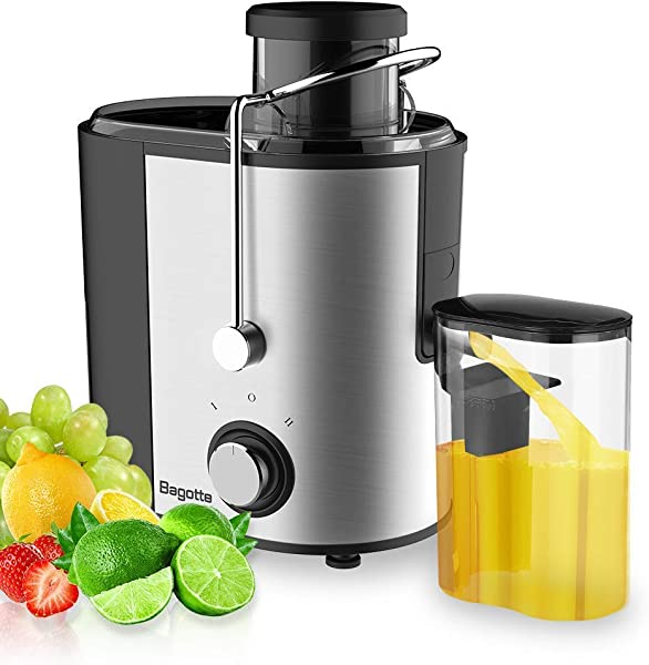 Bagotte Compact Juice Extractor Fruit And Vegetable Juice Machine Wide Mouth Centrifugal Juicer Easy Clean Juicer Stainless Steel Dual Speed 400w BPA Free