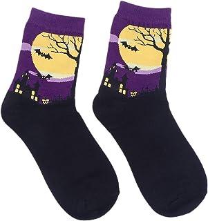 VORCOOL Calcetines de Halloween Estilo de Dibujos Animados calcetín de Tobillo de algodón para Mujeres niñas (púrpura)