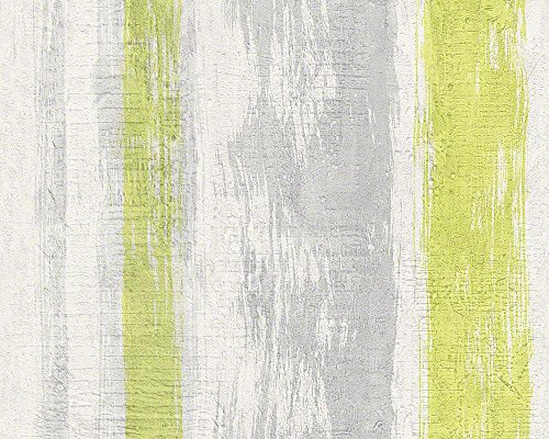 Schöner Wohnen 944251 Vliestapete Best of Wood`n Stone 2nd Edition Tapete, Mustertapete in Vintage-Betonoptik, gelb, grün, grau, 10,05 m x 0,53 m