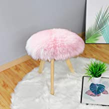 Carvapet Soft Round Faux Sheepskin Fur Area Rugs Plush Chair Cover Seat Pad for Bedroom and Living Room, 1.2ft Diameter, Pink