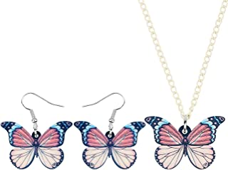 WEVENI Acrylic Brush-Footed Butterfly Necklace and Earrings Butterfly Jewelry Sets Insect Pendant for Women Girls Gifts